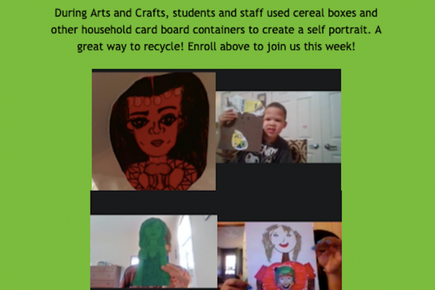 During Arts and Crafts, students and staff used cereal boxes and other household cardboard containers to create a self portrait. A great way to recycle! Enroll above to join us this week!