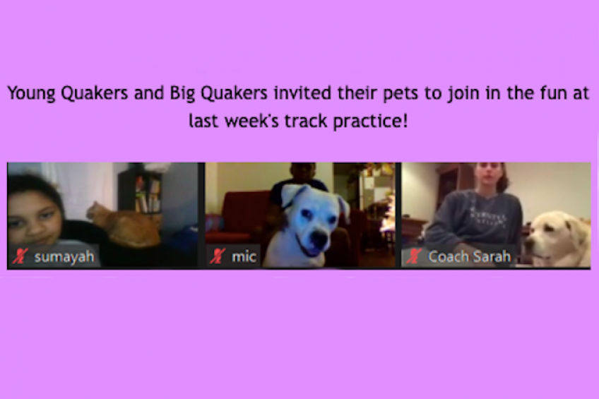 Young Quakers and Big Quakers invited their pets to join in the fun at last weeks track practice!