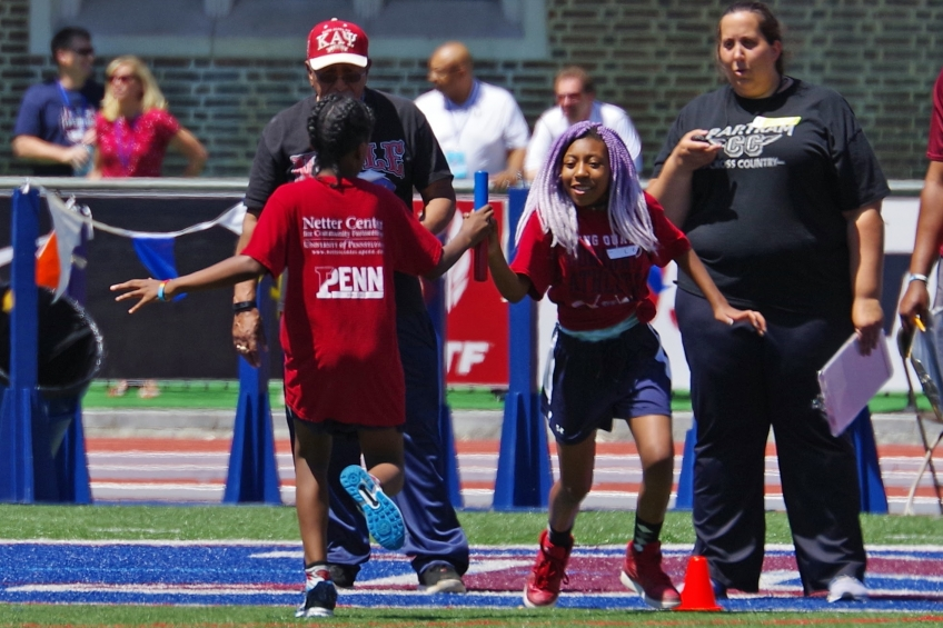 Young Quakers Track and Field Penn Relays girls' time trial photo