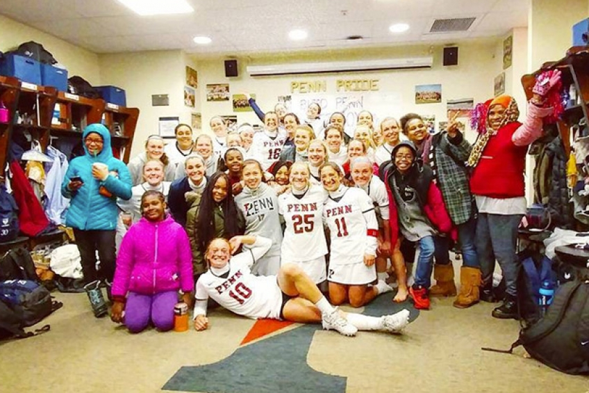 Young Quakers Girls' Lacrosse locker room photo 848x565